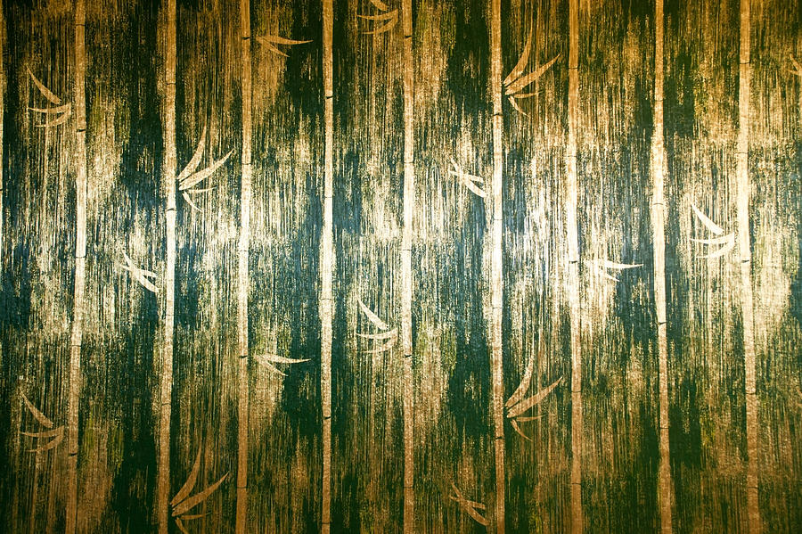 green bamboo wall texture In Bed room Thai Lana style Photograph