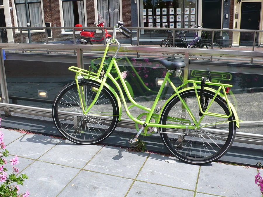 Bike Photograph - Green Bike Haarlem Holland by Gregory Smith