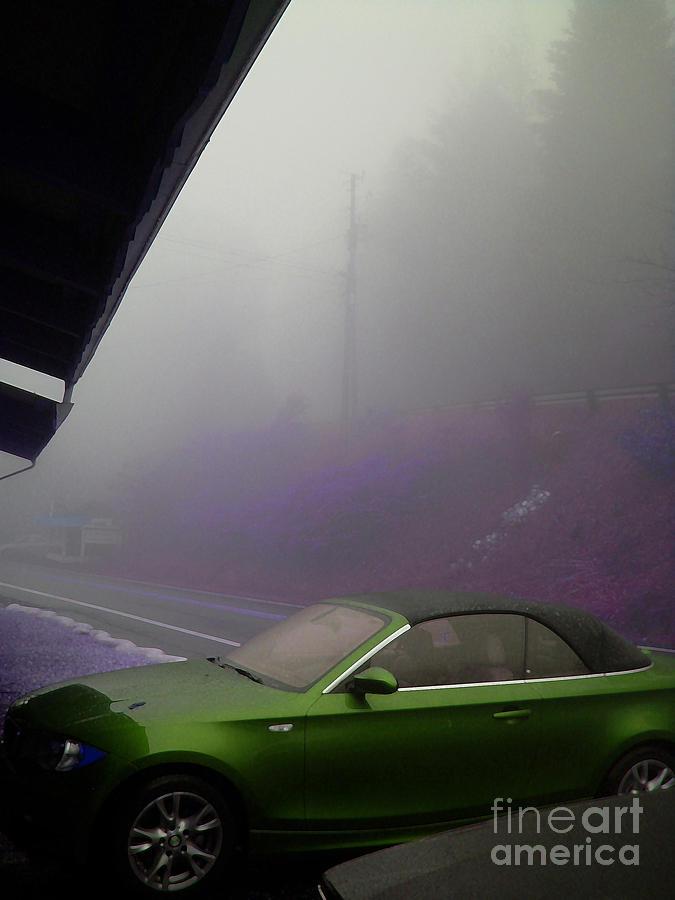 Fog Photograph - Green Car by Beebe  Barksdale-Bruner