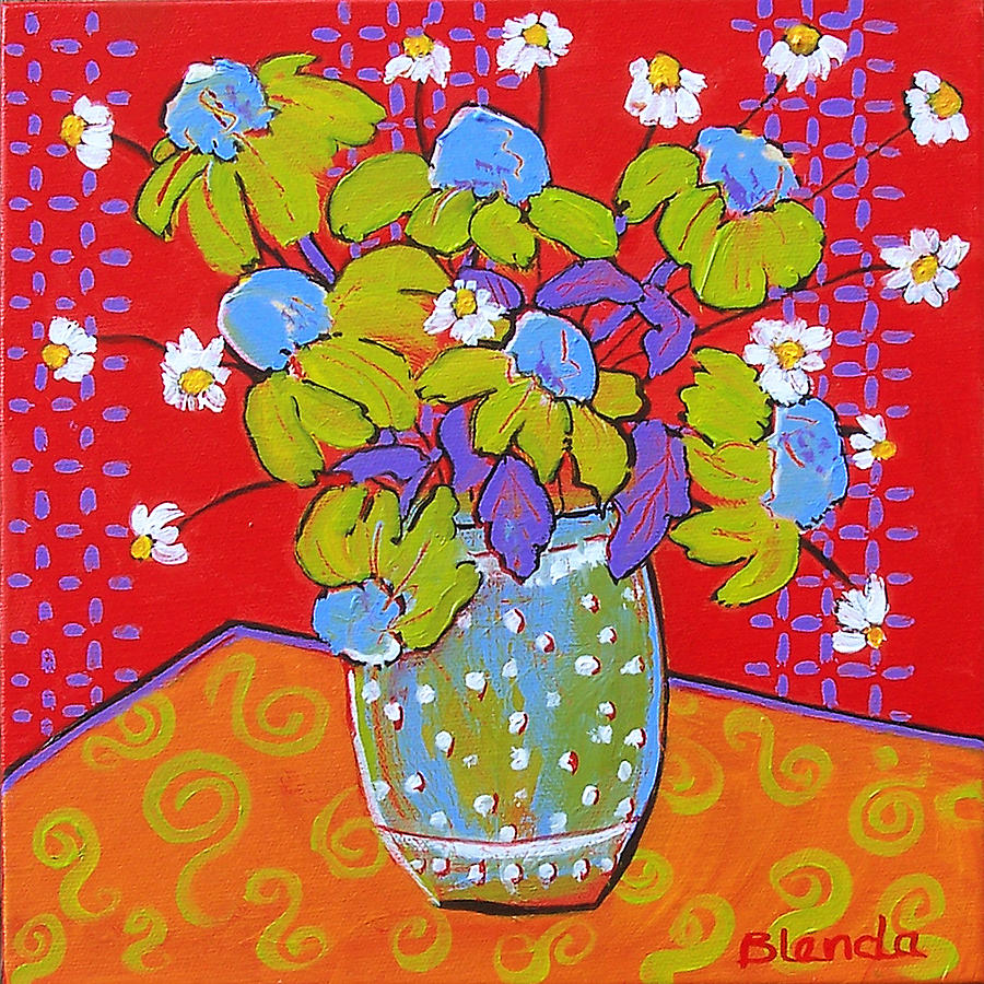 Colorful Painting - Green Daisy Bouquet by Blenda Studio