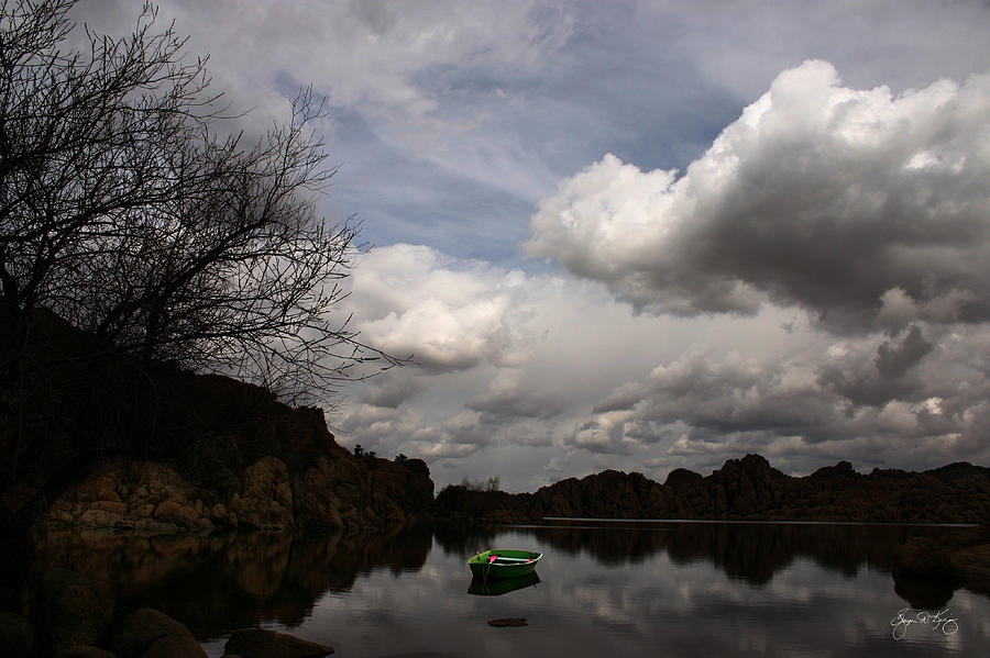 Green Photograph - Green Dingy In The Dells by Wayne King