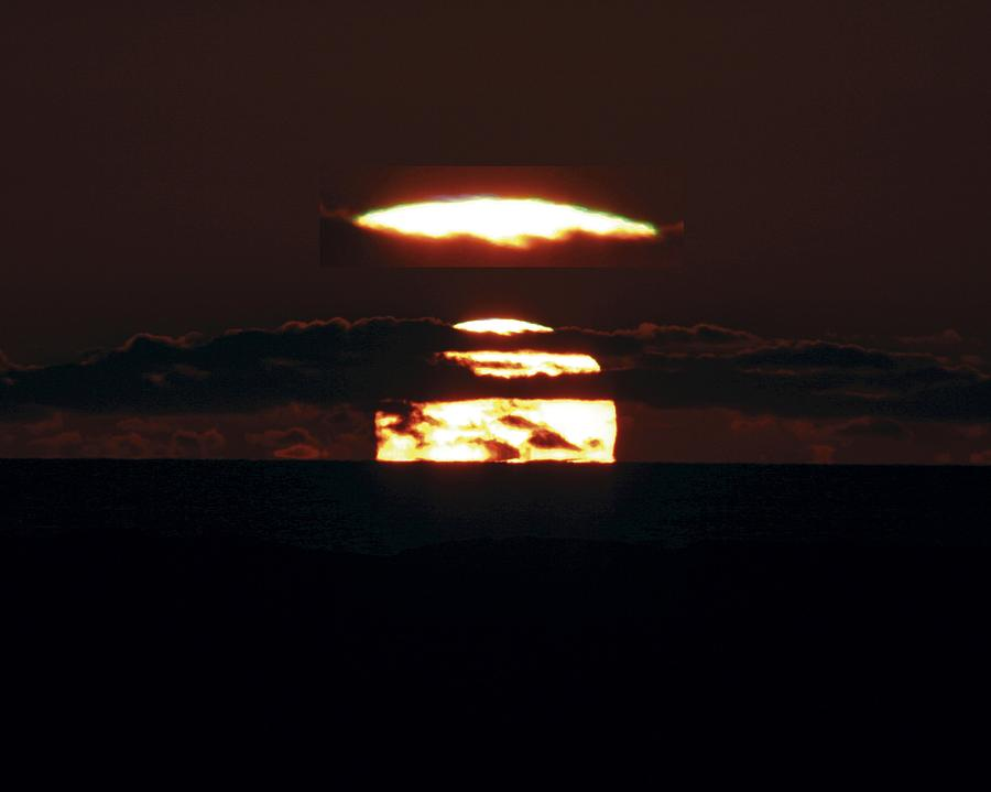 Sun Photograph - Green Flash At Sunset by Laurent Laveder