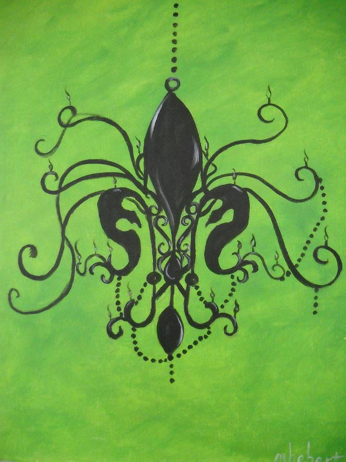Fleur De Lis Painting - Green Fleur De Chandelier by Marian Hebert