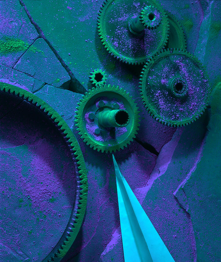 Gears Photograph - Green Gears by Ron Schwager