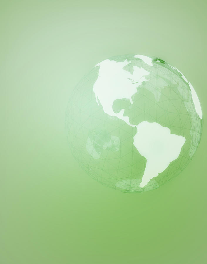 Vertical Digital Art - Green Globe Of The Americas by Jason Reed