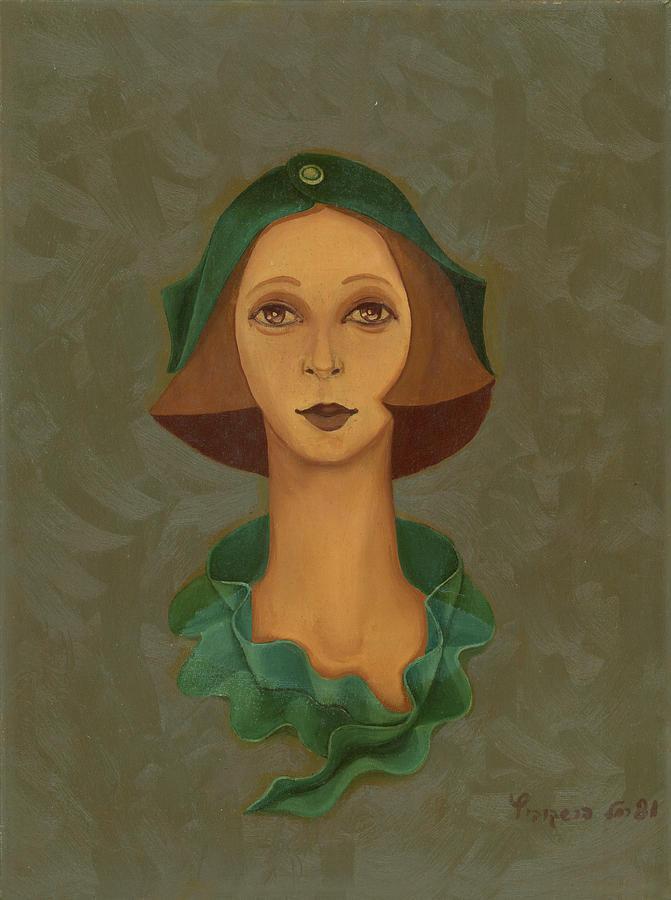 Green Painting - Green Hat Carre Woman Face  by Rachel Hershkovitz