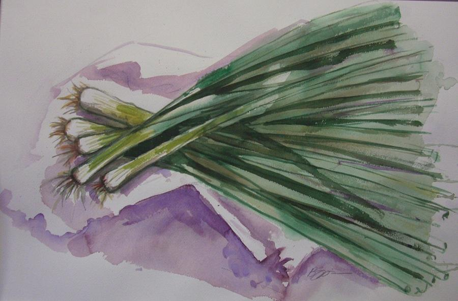 Green Onions  Painting - Green Onions by Barbara Spies