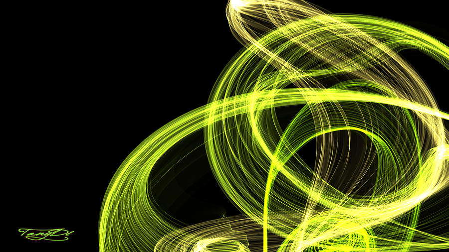 Abstract Digital Art - Green Over Black by TanyDi Tany Dimitrova