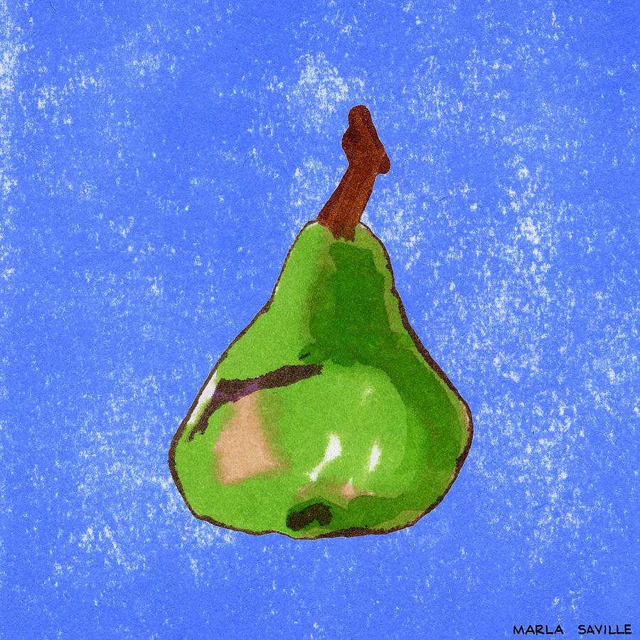 Pear Art Painting - Green Pear On Blue by Marla Saville