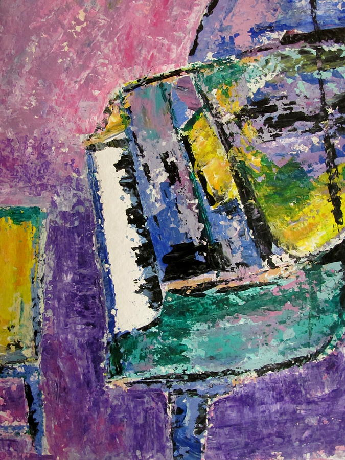 Music Painting - Green Piano Side View by Anita Burgermeister