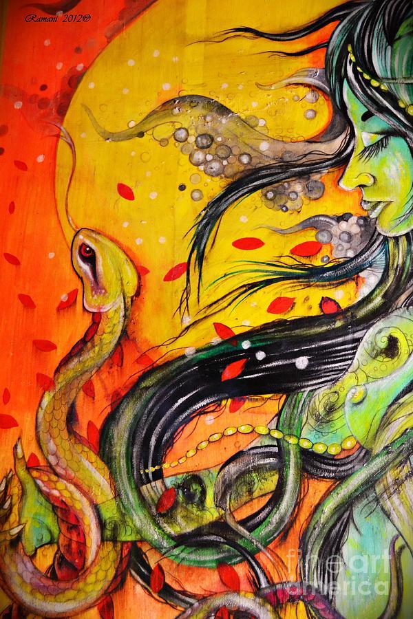 Woman Painting - Green Remedy by Sandro Ramani