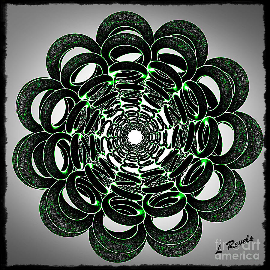Digital Digital Art - Green Rings by Leslie Revels