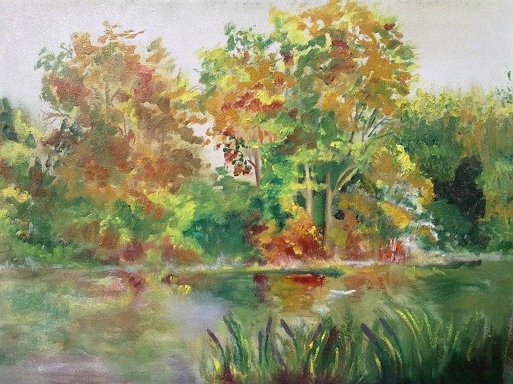 Nature Painting - Green by Rumesa Saddozai