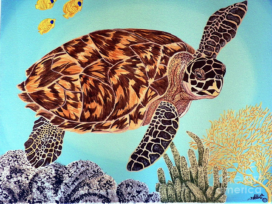Sea Painting - Green Seaturtle 1 by Nanci Fielder