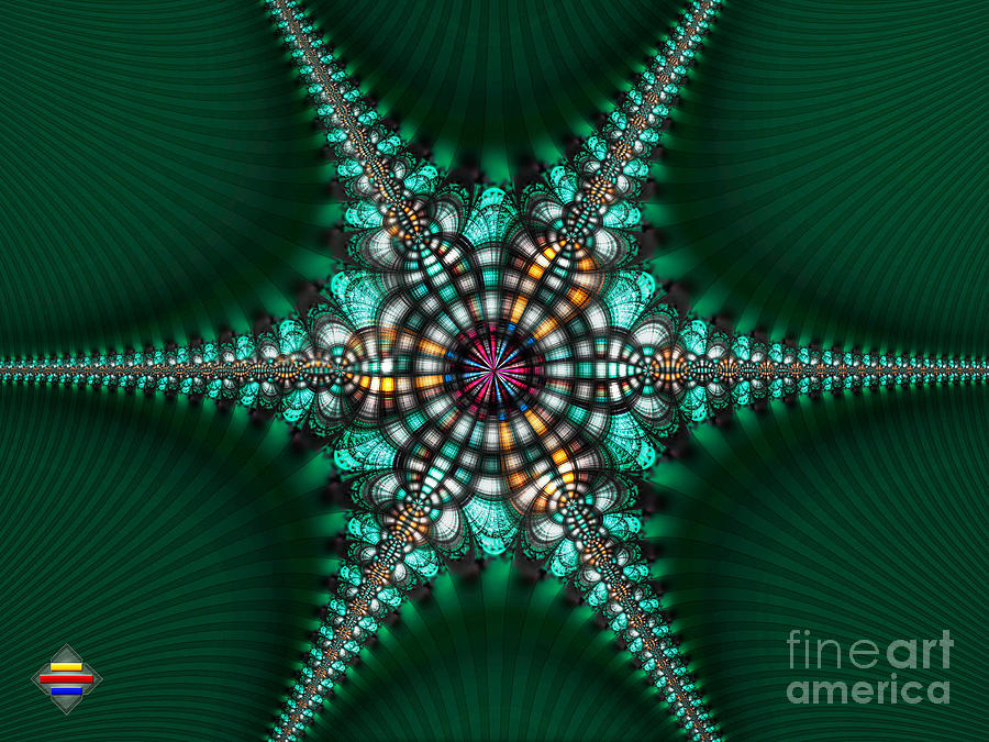 Fractal Photograph - Green Starone by Vidka Art