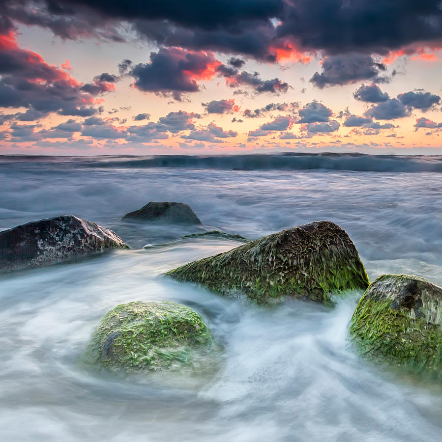 Black Sea Photograph - Green Stones by Evgeni Dinev
