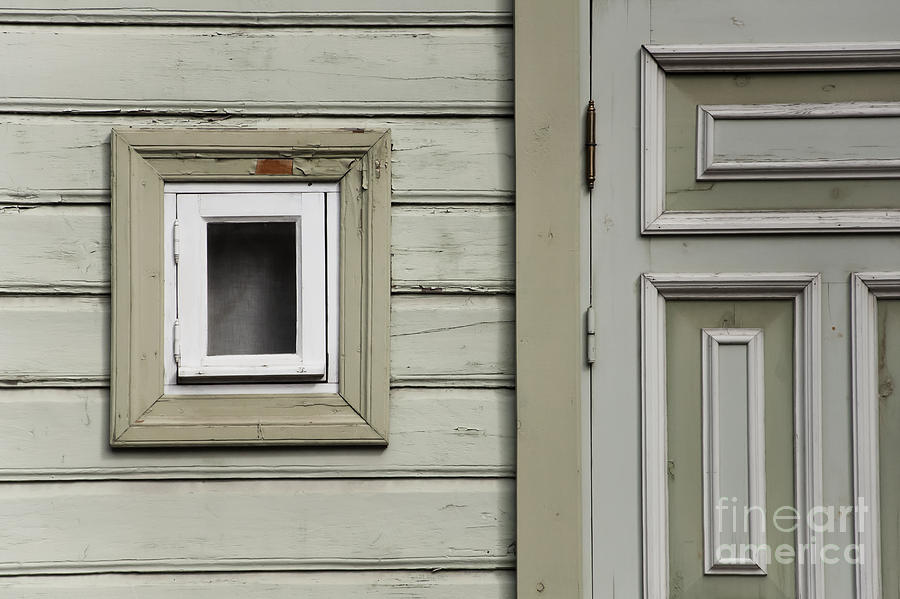 Window Frame Photograph - Green Wall With Small Window by Agnieszka Kubica