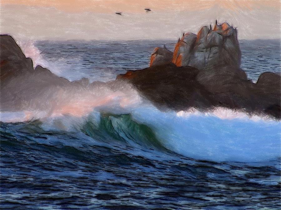 Green Waves Pastel Pastel by Steve K