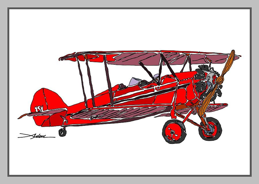 Red Waco Drawing by Arlon Rosenoff