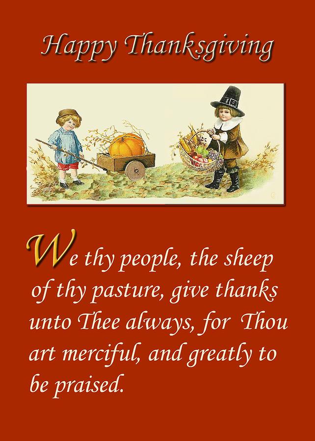 Thanksgiving Digital Art - Greeting Card - Thanksgiving - Religious by Peri Craig
