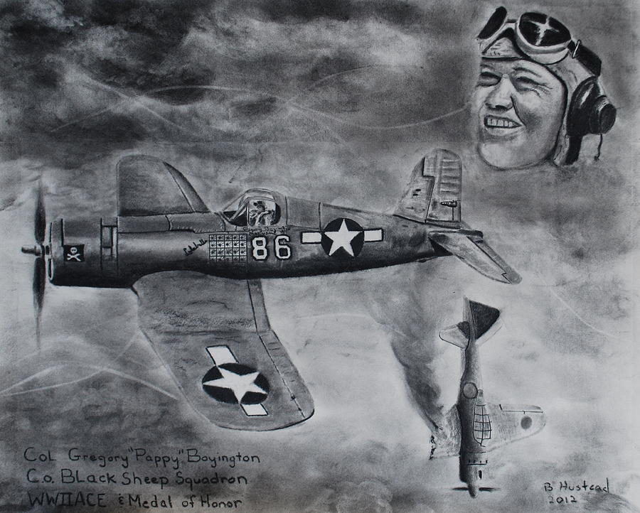 Wwii Drawing - Gregory Pappy Boyington by Brian Hustead