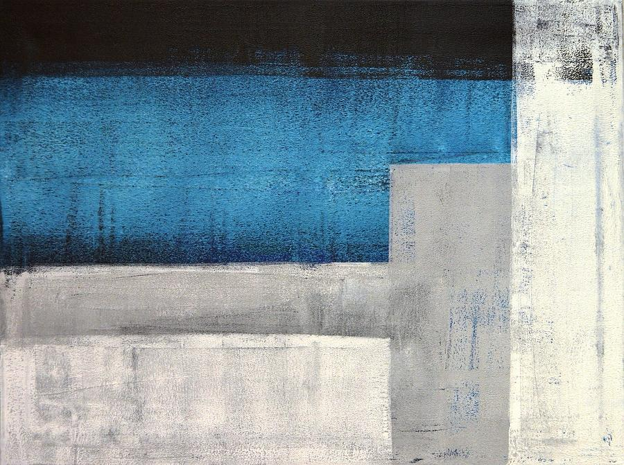 Grey Painting - Straight Forward - Teal And Grey Abstract Art Painting by CarolLynn Tice
