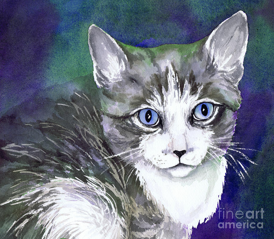 Grey And White Kitten Painting Painting - Grey And White Kitten by Cherilynn Wood