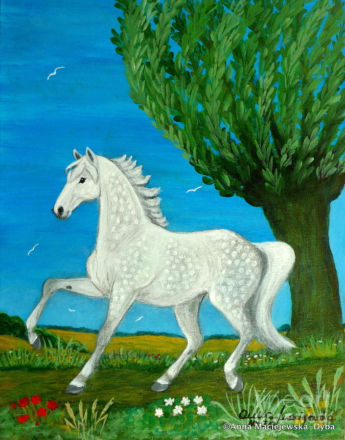 Folkartanna Painting - Grey Horse by Anna Folkartanna Maciejewska-Dyba