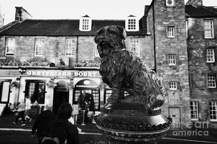 Greyfriars Photograph - Greyfriars Bobby Statue In Front Of The Bar Candlemaker Row Edinburgh by Joe Fox