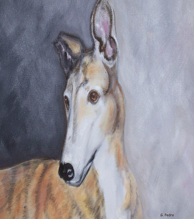 Greyhound Painting - Greyhound In Thought by George Pedro