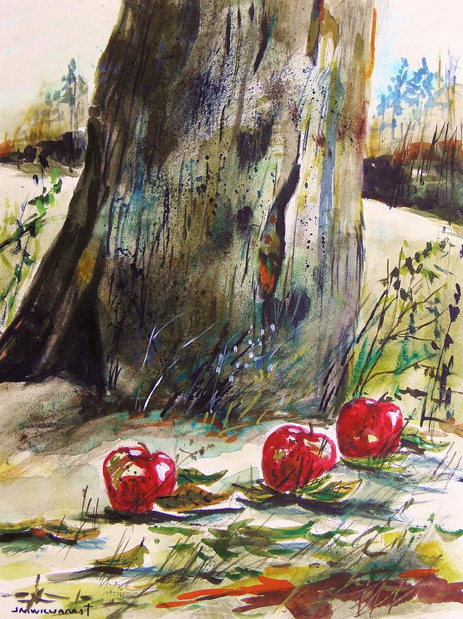 Apples Painting - Ground Apples by John Williams