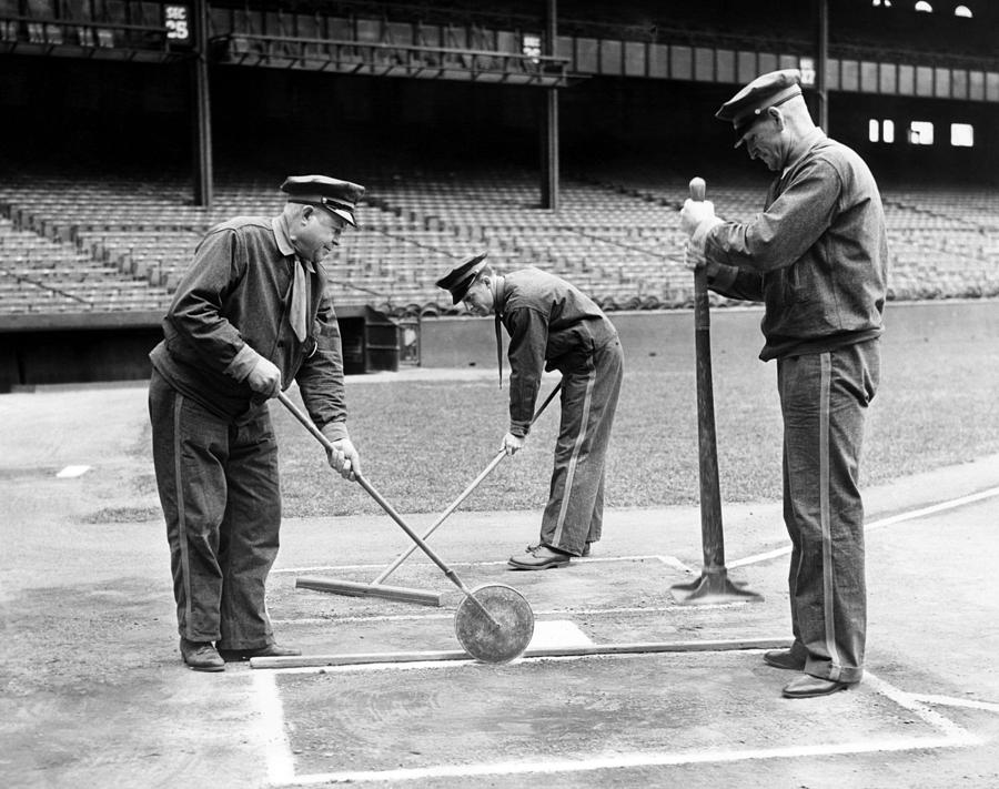 1930s Photograph - Groundskeepers Preparing Home Plate by Everett