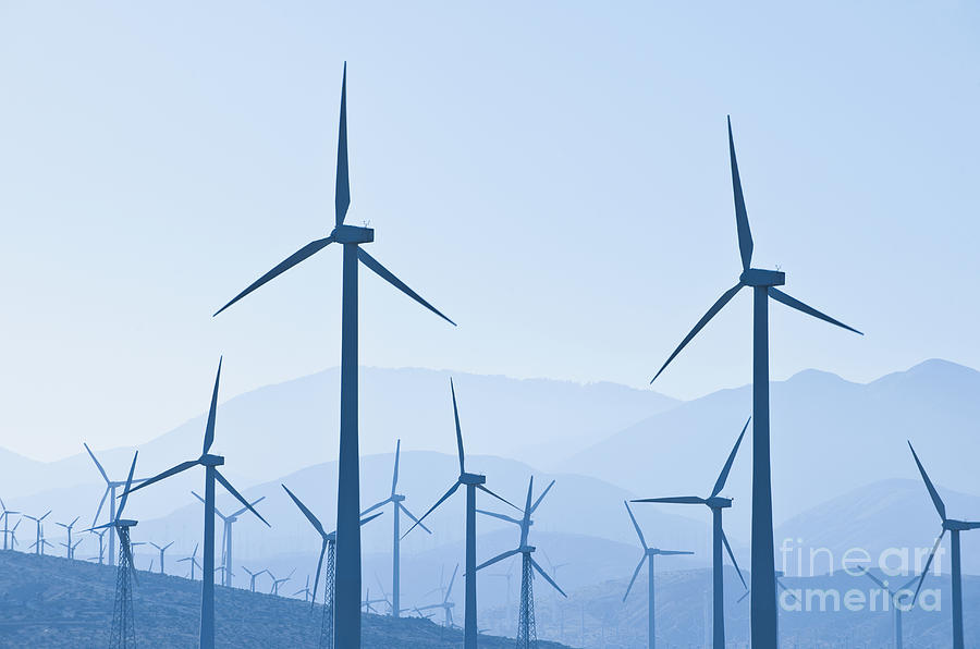 Array Photograph - Group Of Wind Turbines by Dave & Les Jacobs