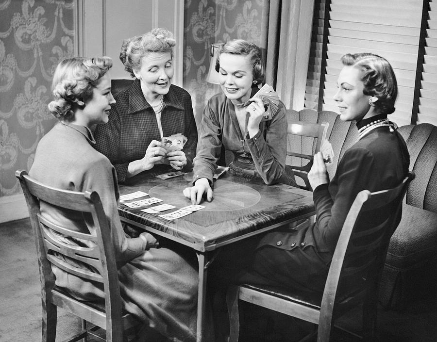 Adult Photograph - Group Of Women Playing Cards by George Marks