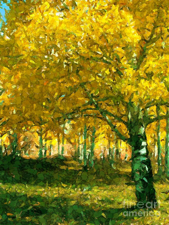 Grove of Aspens Digital Art by Annie Gibbons