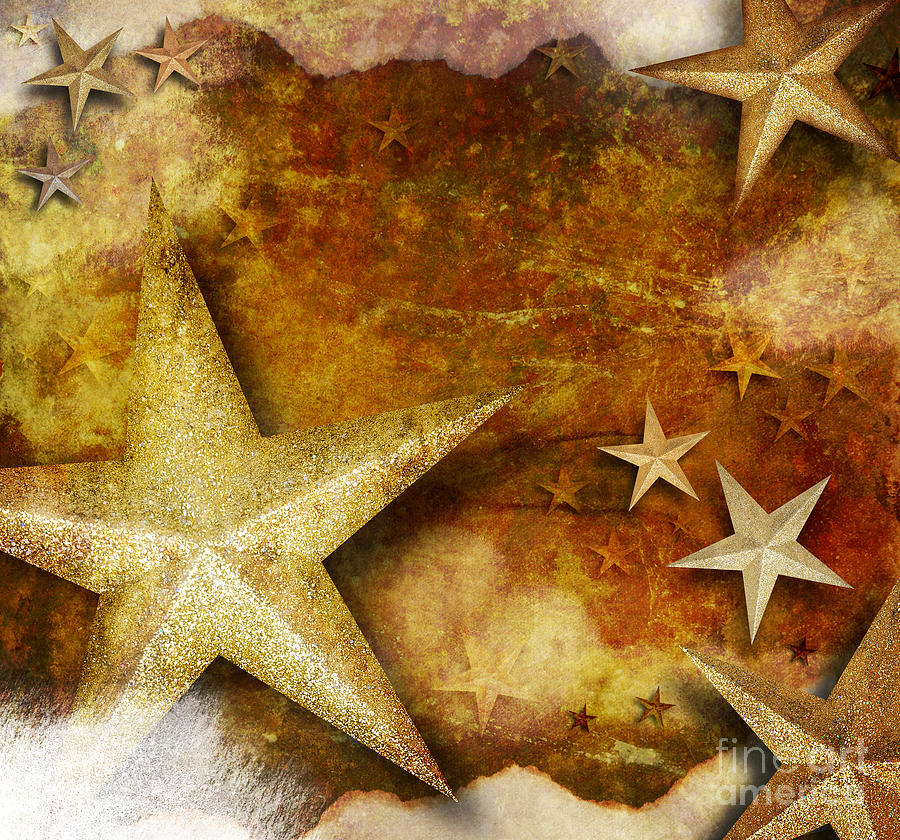 Abstract Photograph - Grunge Golden Sparkle Star Background by Angela Waye