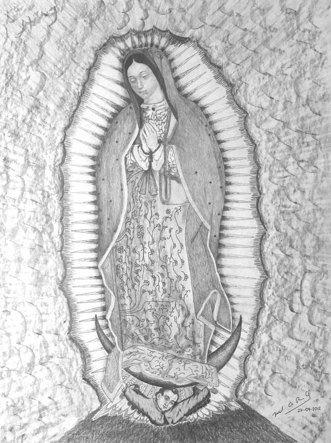 Lady Drawing - Guadalupe by Miguel Rodriguez
