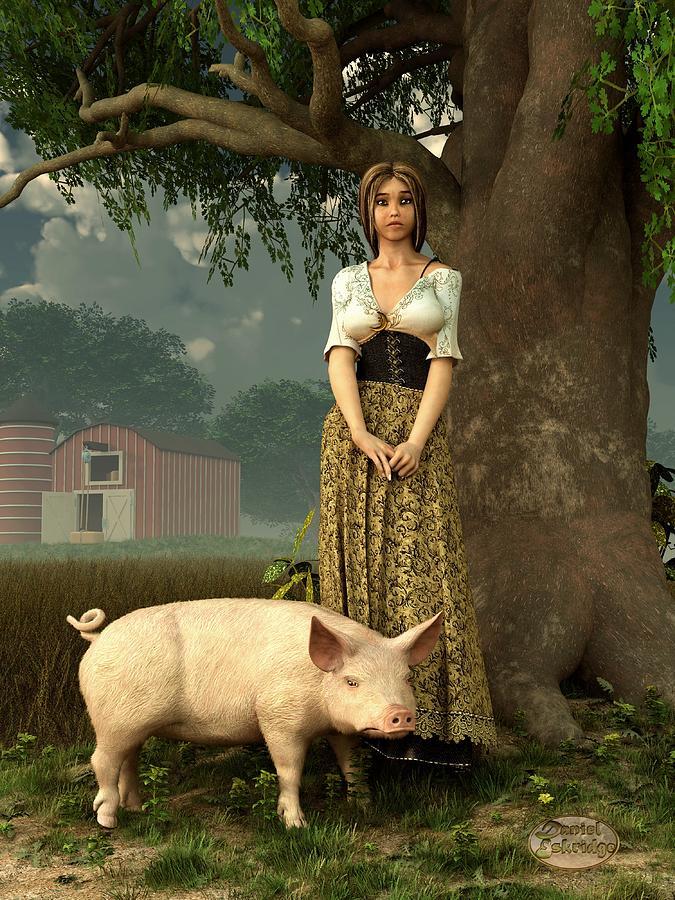 Pig Digital Art - Guard Pig by Daniel Eskridge