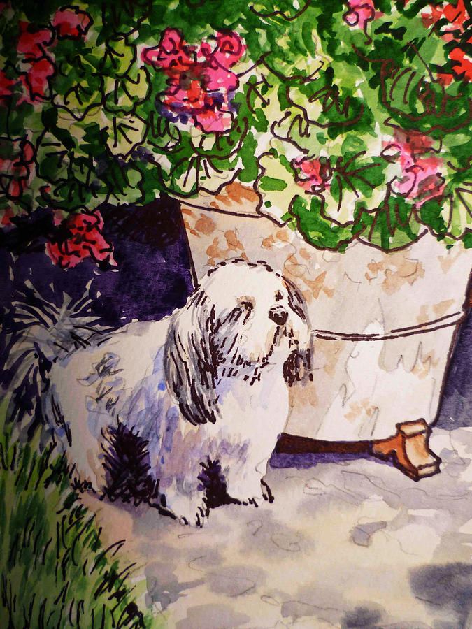 Dog Painting - Guarding Geranium Sketchbook Project Down My Street by Irina Sztukowski