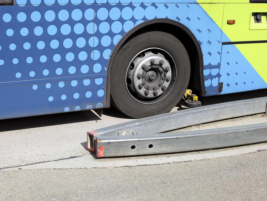 Vehicle Photograph - Guided Busway Wheel Mechanism by Martin Bond