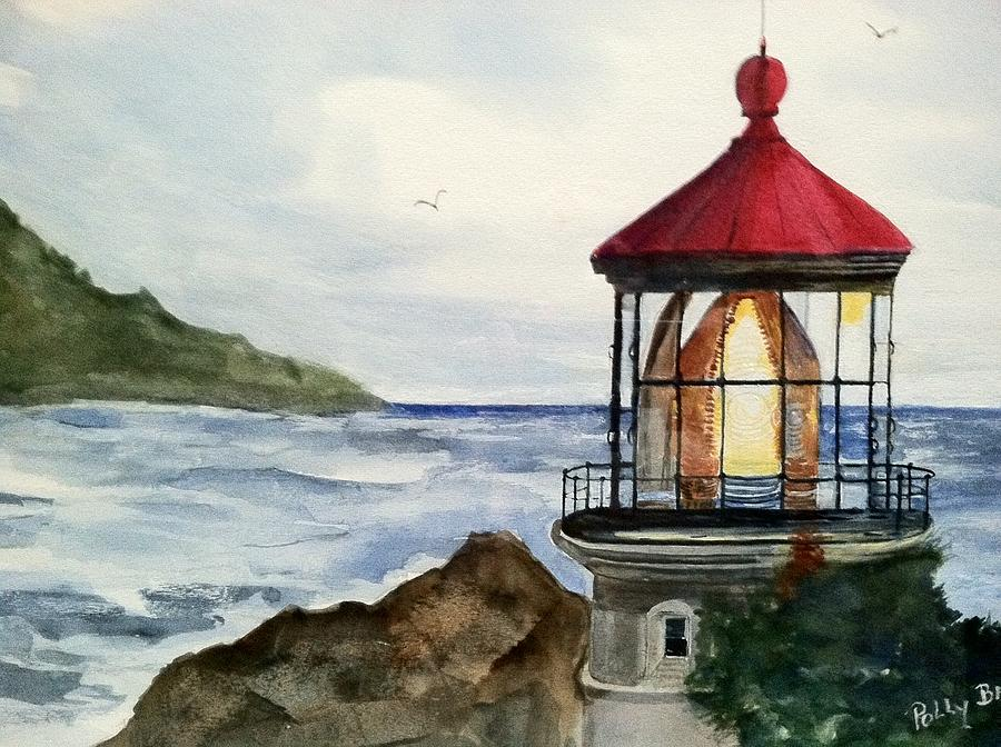 Water Scene Painting - Guiding Light by Polly Barrett