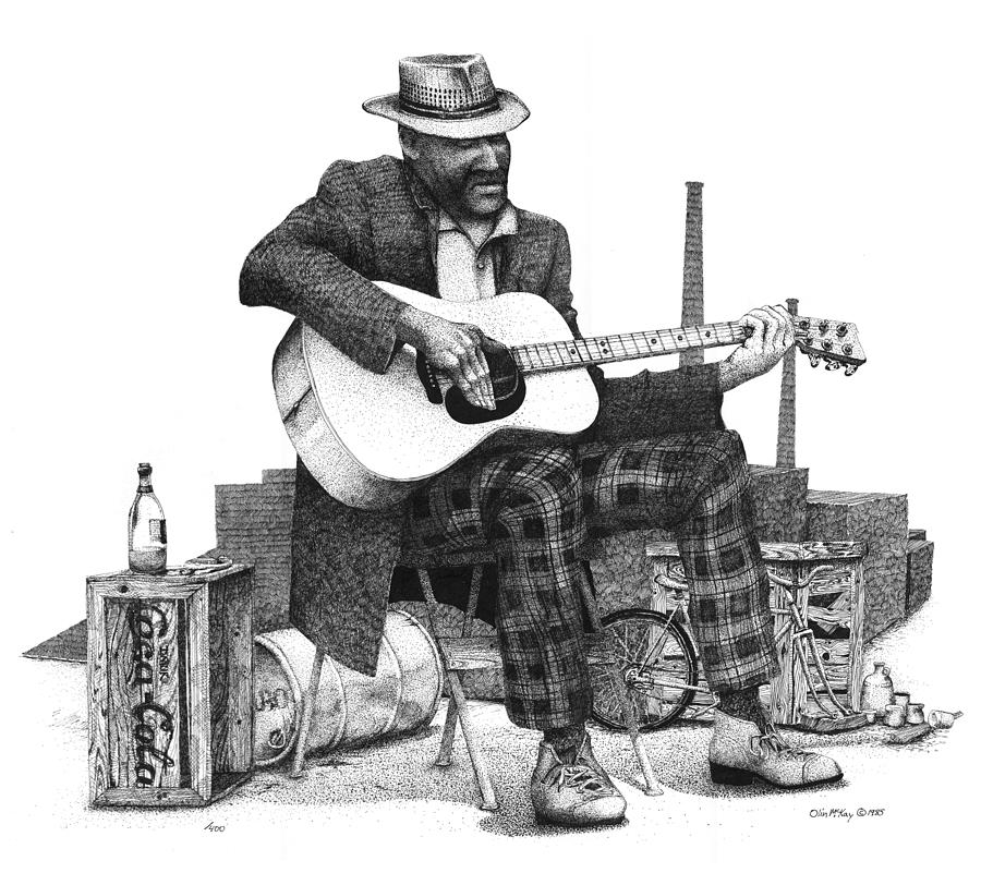 Pen And Ink Drawing - Guitar Guy 2 by Olin  McKay