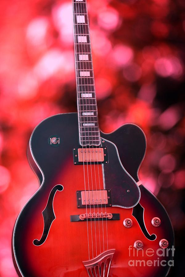Guitar Photograph - Guitar In Red by Sophie Vigneault
