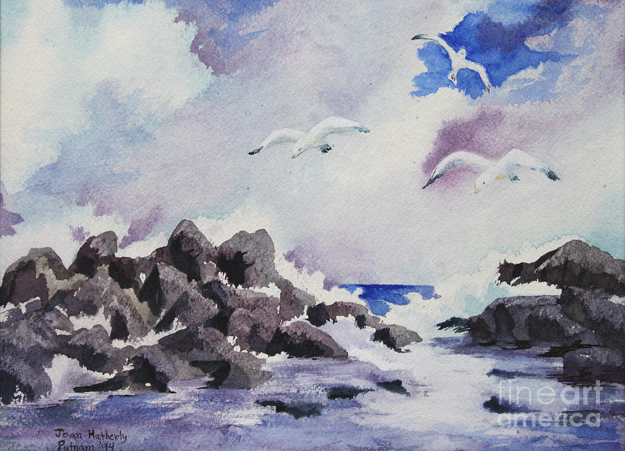 Seagulls Painting - Gulls by Joan Putnam