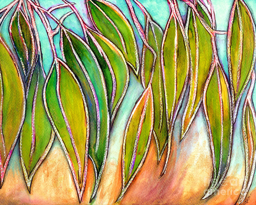 Eucalyptus Leaves Mixed Media - Gum Leaves by Dion Dior