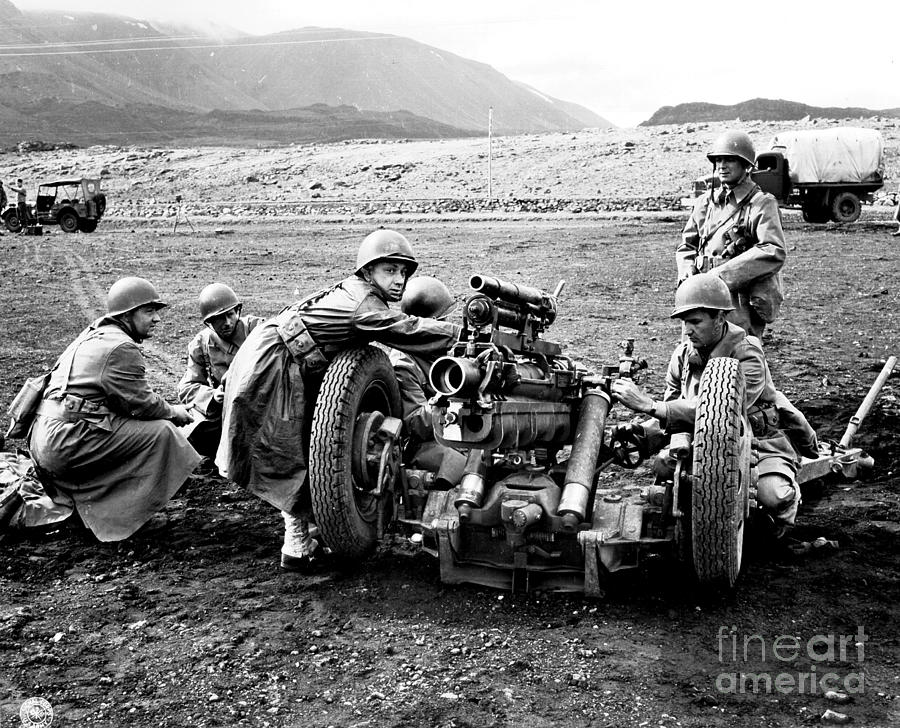 War Photograph - Gun Crew Prepares To Fire A 37mm by Stocktrek Images