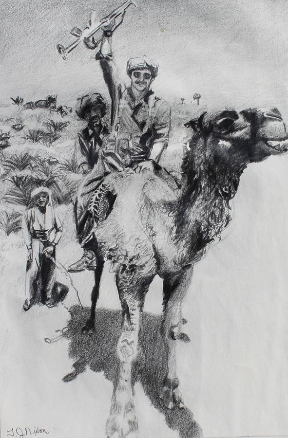 Camel Drawing - Guns And Urine by Thomas J Nixon