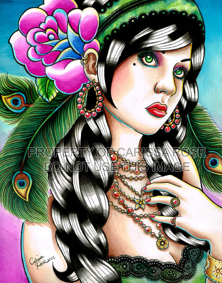 Gypsy Tattoo Flash Inspired Portrait Painting by Carissa ...