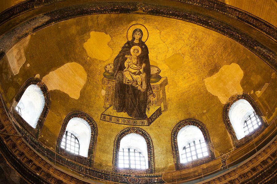 Hagia Photograph - Hagia Sophia Mosaic by Artur Bogacki