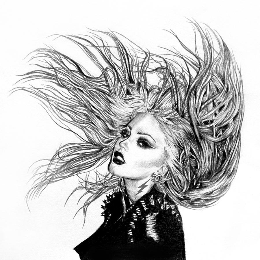 Art Drawings: Hair Flip 2 Drawing By Electric Elaine